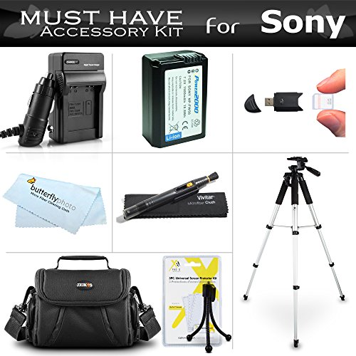 Essential Accessories Kit For Sony Alpha a6000, a6500, a6300, a5100, a5000, a3000 Compact Digital Camera Includes Replacement (1500maH) NP-FW50 Battery + AC/DC Charger + Case + 57 Tripod + More