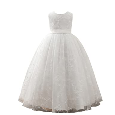 ZAMME Girls White First Communion Pageant Flower Dresses for Weddings and Party