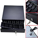 Cash Drawer Box Works Compatible Epson/Star POS Printers w/5Bill &5Coin Tray