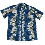 Jade Fashions Inc. Men Cotton Ginger Blue Hawaiian Aloha Shirt-Blue-2XL