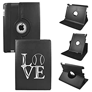 IPad Love Baseball 2nd Generation, 3rd Generation, 4th Generation Cover Synthetic Leather Rotating Ipad Case: 360 Degrees Multi-angle Vertical and Horizontal Stand with Strap (Black)