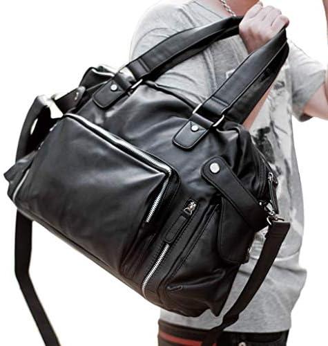 ボストンバッグポータブル大容量旅行バッグメンズカジュアルスポーツアウトドアジムバッグ高品質耐摩耗レザーブラック HMMSP (Size : 30×12×26cm)