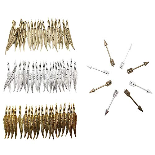 MANSHU 60pcs Mixed Mini Feather Charms Pendants31x6mm, 40 Pcs Silver & Bronze Tone Tibetan Arrow Charm Pendants 29x5mm,Jewellery Charms Making Supplies for Necklace Bracelet DIY Steampunk