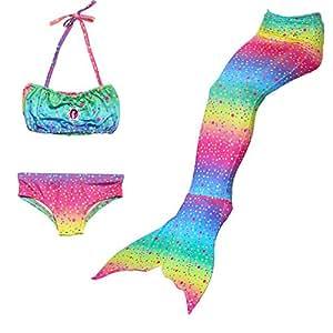 HHD® 3Pcs establece bañadores niña Traje de baño Bañador De Sirena Disfraz De Princesa Bikini niña Cola de sirena para nadar las niñas bikini de traje de baño