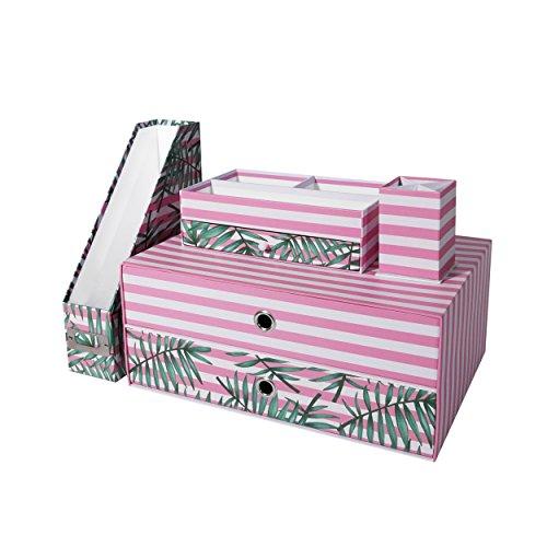Home Office Desk Organizer (Set of 4, Tropical) | Desktop Organizer with Sliding Drawers Pen Holder File Shelf for Office School Home Accessories Organization