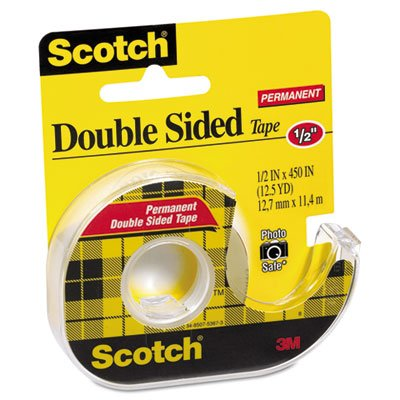 665 Double-Sided Office Tape w/Hand Dispenser, 1/2'' x 450'', Total 72 RL, Sold as 1 Carton