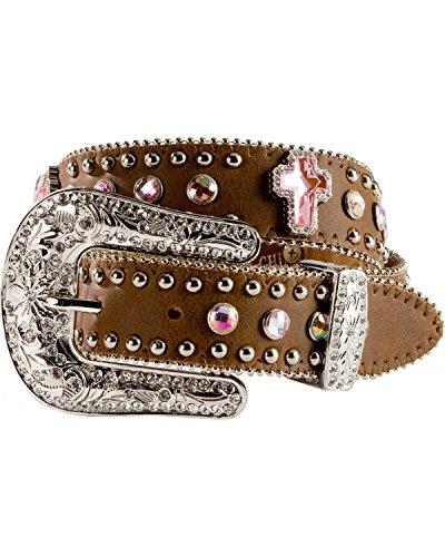 Nocona Girl's Interchangeable Buckle Cross Conchos Belt, Medium Brown Distressed, 28