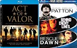 Heroic Action War Act of Valor Blu-Ray Bundle & Patton / Rescue Dawn / Behind Enemy Lines Box 4 Feature Movie Bundle