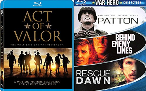 Heroic Action War Act of Valor Blu-Ray Bundle & Patton / Rescue Dawn / Behind Enemy Lines Box 4 Feature Movie Bundle (Act Of Valor Bluray)