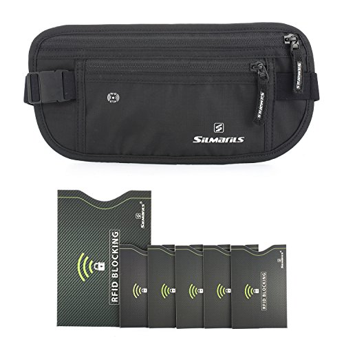 Silmarils RFID Blocking Travel Money Belt / Hidden Waist Pack + 6 Bonus Sleeves (Midnight Black/M)