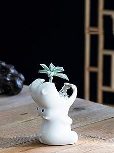 WISH HALLY WOOD White Hippo White Ceramic Plant Flower Pots Home Office Decor Planter (White Hippo)