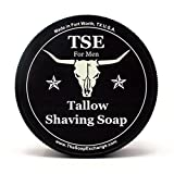 TSE for Men Sandalwood Vanilla Shaving Soap with Tallow and Shea Butter. Natural Ingredients for Rich Lather and a Smooth Comfortable Shave. Artisan 4.5 oz Semi-Soft Italian Style. Made in the USA.