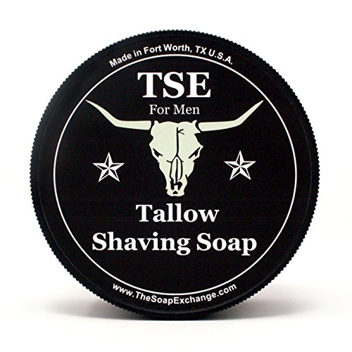 TSE for Men Barbershop Shaving Soap with Tallow and Shea Butter. Natural Ingredients for Rich Lather and a Smooth Comfortable Shave. Artisan 4.5 oz Semi-Soft Italian Style. Made in the USA. -