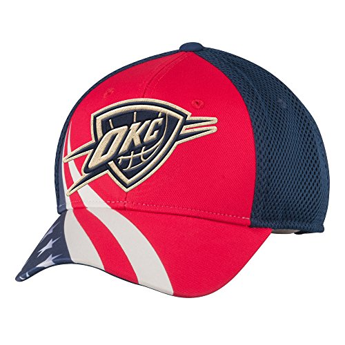 NBA Oklahoma City Thunder Men's Patriotic Mesh-Back Structured Adjustable Cap, One Size, Red/Navy - Back Structured Cap