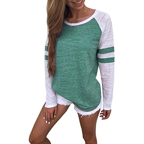 Gillberry Women Ladies Long Sleeve Splice Blouse Tops Clothes T Shirt for Women (L, Green)
