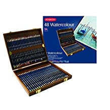 Derwent Watercolor Pencils, 3.4mm Core, Wooden Box, 48 Count (0700758) by Derwent