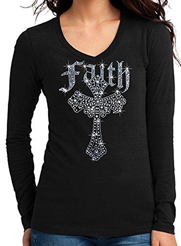 Faith Rhinestone Cross Long Sleeves V-Neck T-Shirt Juniors S-3XL (XL (Juniors), Black)