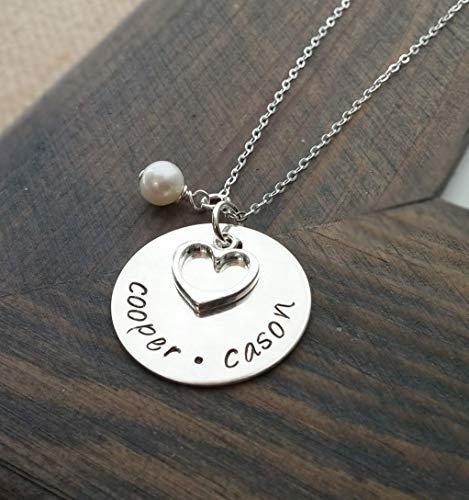 (Hand Stamped Jewelry // Personalized Necklace // Necklace with Kids Names // Sterling Silver Disc)