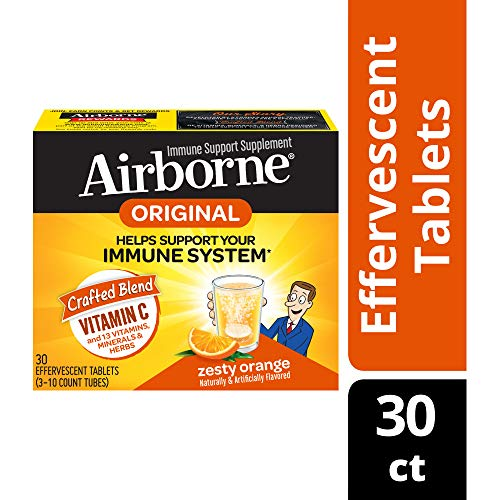 Vitamin C 1000mg - Airborne Zesty Orange Effervescent Tablets (30 count in a box), Gluten-Free Immune Support Supplement and High in Antioxidants, Packaging May Vary (Airbourne The Very Best)
