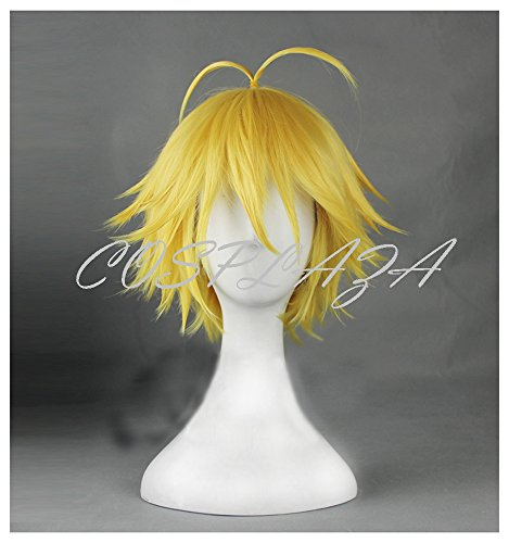 [COSPLAZA Cosplay Wig Short Yellow Boy Male Styled Ahoge Anime Hair] (Seven Deadly Sins Wrath Halloween Costumes)
