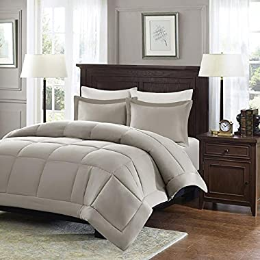 Madison Park Sarasota Microcell Down Alternative Comforter Mini Set, Twin, Taupe