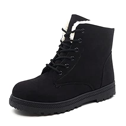 db7f6950dc6 Wicky LS Women s Winter Fur Snow Boots Warm Sneakers Suede Flat Platform  Shoes (Black