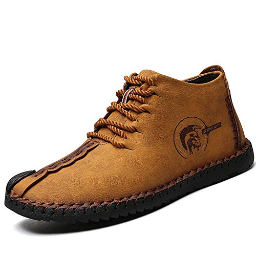 YuPIShi Mens Suede Fur Lining Winter Lace-up Oxford Leather Handmade Driving Ankle Boots Chukka Casual Shoes Brown 44