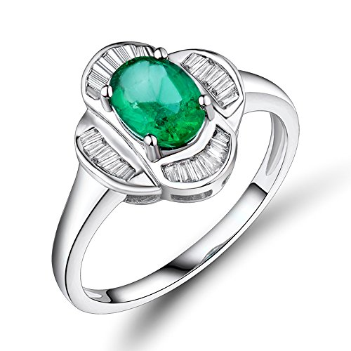 - Lanmi Beautiful Natural Diamond Women's Emerald 14K White Gold Anniversary Engagement Ring