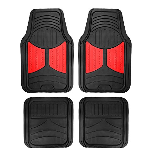 FH Group F11313 Monster Eye Full Set Rubber Floor Mats, Red/Black Color- Fit Most Car, Truck, SUV, or Van ()