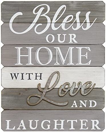 Stratton Home Decor S07685 Bless Our Home with Love Laughter Wall Art, 14.00 W x 1.13 D x 18.00 H, Grey