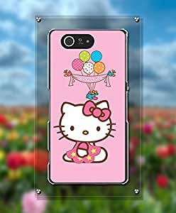 Cartoon Hello Kitty Funda Case For Sony Z3 Compact, Unique Style Magnetic + Customized Pretty Attractive Style Tough Hard Compatible with Sony Xperia Z3 Compact [Just fit for Z3 Compact]