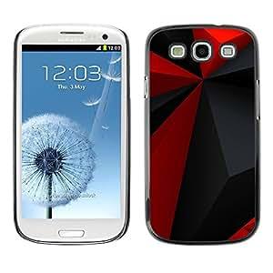TECHCASE**Cubierta de la caja de protección la piel dura para el ** Samsung Galaxy S3 I9300 ** Red Polygon Pattern Grey Black Modern