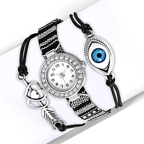 My Daily Styles Fashion Alloy CZ Black White Love Heart Evil Eye Wrist Watch, 8.5'' by My Daily Styles (Image #4)