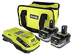 Ryobi P165 One+ Lithium Ion Battery & Charging Kit: Includes 2 X P191 3.0 Ah 18v Batteries, 1 X P117 Charger, & 1 X Contractor's Bag