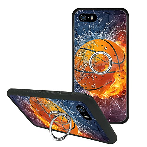iPhone SE 5s 5 Case, iPhone 5 Flame Basketball Case, Non Slip Drop Protection Cover with Pop Phone Grip Stand Holder (Iphone Grip Basketball Case 5)