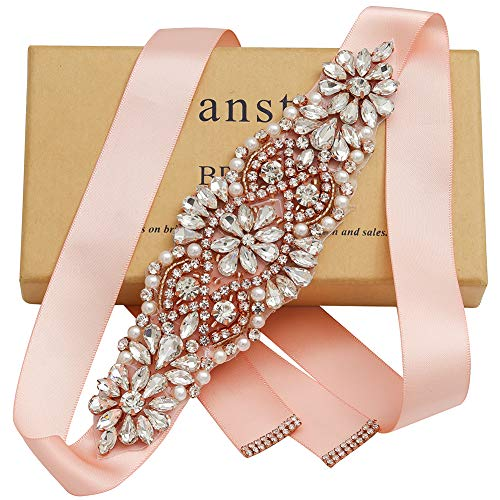 Yanstar Rose Gold Crystal Beads Rhinestone Wedding Bridal Belt Sash With Blush Ribbon For Wedding Dress (Jeweled Belt)