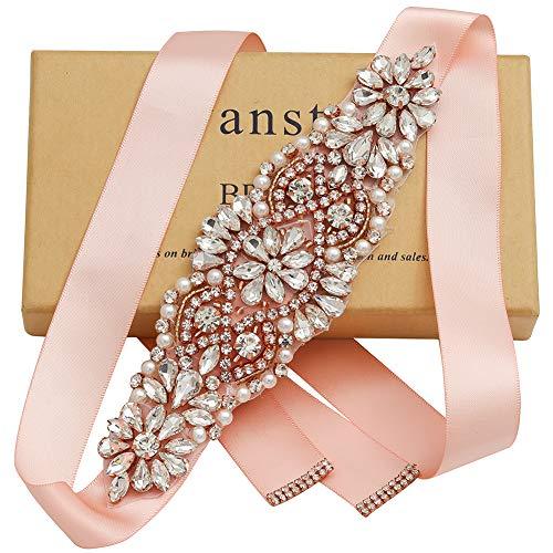 Yanstar Rose Gold Crystal Beads Rhinestone Wedding Bridal Belt Sash With Blush Ribbon For Wedding Dress