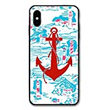 Red Anchor iPhone X Case, PC Anti-Slip Grip Hard Cover Slim Support Wireless Charging,Durable and Slim, Lightweight with Classic Design &, for Apple iPhone X (2017)