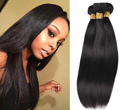 SIADEE 8A Grade Brazilian Real Virgin Human Straight Hair 3 Bundles 14 16 18 Inch 300g, Pack of 3, 100g/bundle, Natural Color Hair Bundles (14 16 18) (Event Bundle)