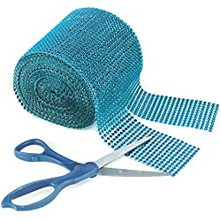 "Turquoise Rhinestone Diamond Style Arts and Crafts Decorating Mesh Ribbon Roll (4.75"" x 10 Yards, 24 Row, 1 Roll)"
