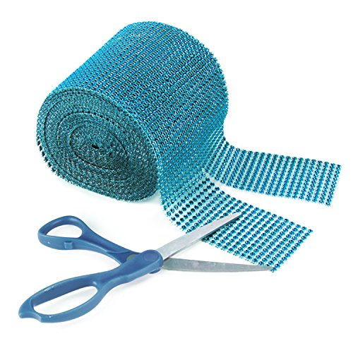 Turquoise Rhinestone Diamond Style Arts and Crafts Decorating Mesh Ribbon Roll (4.75