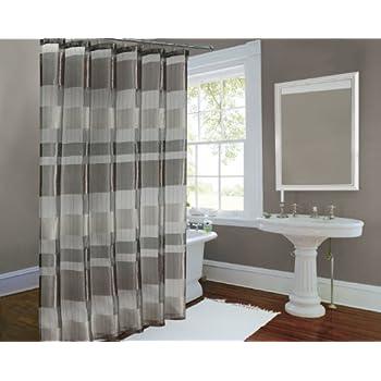 This Item Metallic Stripe Woven Sheer Shower Curtain Horiz And Vert Stripe  Bronze 72x72 Inch