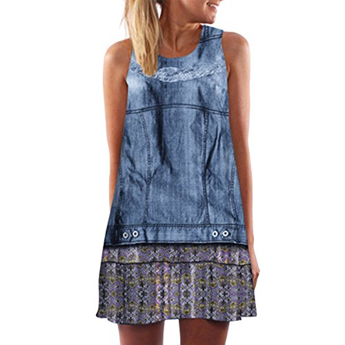 Dressin Vintage Boho Beach Dress, Women Ladies Loose Summer Sleeveless 3D Floral Print Bohe Tank Top Mini -