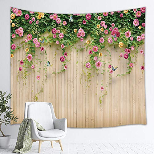 NYMB Flowers Framed Wallpaper Tapestry, Hawaiian Rosemary Floral on Wood Wall in Garden Plant, Wall Art Hanging for Bedroom Living Room Dorm, 71 X 60 Wall Blankets Home Decor, Beige Pink Green (Rosemary Walls Art)