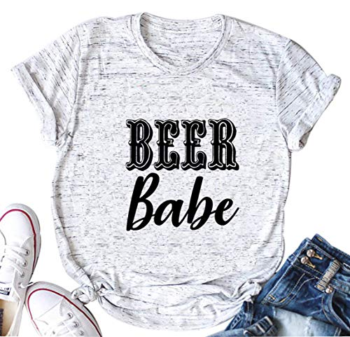 licson Beer Babe T-Shirt Women Drinking Shirt Short Sleeve O-Neck Letter Print T Shirt Tee (Large, White) ()
