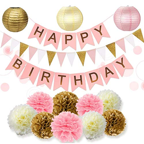 28PCs of Pink Gold and Cream Birthday Party Decorations Set Pom Pom Lanterns Polka Dot Triangle Garland Banner First 1st Birthday Girl Princess Theme Decorations Kit Party Supplies Backdrop -