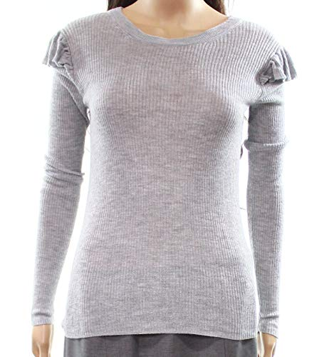 Madewell Women's Ribbed Ruffle Pullover Knit Top Gray XS