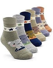 Boys Warm Socks Kids Winter Crew Socks Thick Cotton Cartoon Socks for Boys 6 Pairs