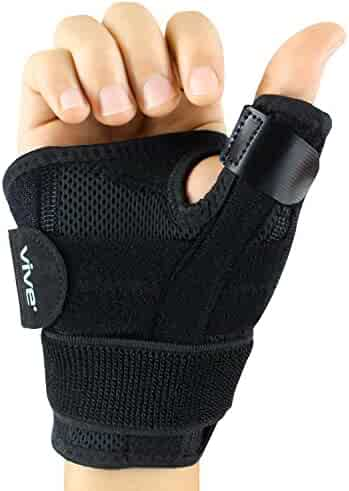 Vive Arthritis Thumb Splint - Hand Spica Brace - Support for Pain, Sprains, Strains, Carpal Tunnel, Tendonitis - Soft Trigger Thumb Immobilizer - Wrist Strap Wrap - Left or Right Stabilizer (Black)