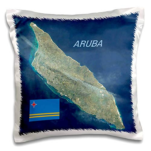 3dRose Lens Art by Florene - Topo Maps and Flags - Image of Aerial Topo View with Flag of Aruba - 16x16 inch Pillow Case (pc_306862_1)